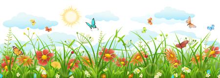 Illustration pour Summer grass with flowers, butterflies, sun and clouds - image libre de droit