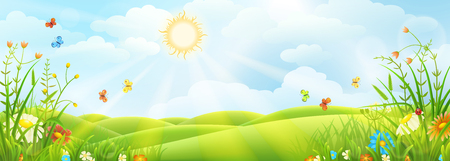 Illustration pour Summer or spring sunny meadow with green grass and flowers. - image libre de droit