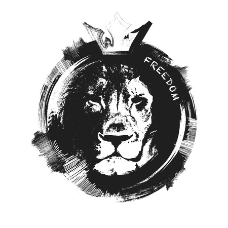 Photo for lion head. hand drawn. Grunge vector illustration - Royalty Free Image
