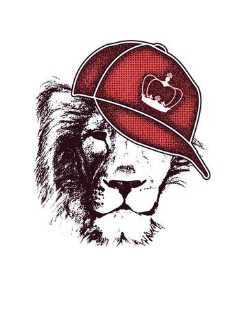 Illustration for lion head. hand drawn. Grunge vector illustration - Royalty Free Image