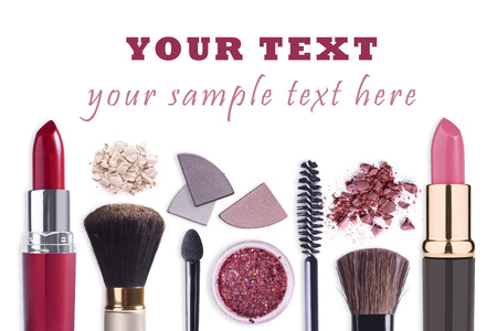 Photo pour Make up cosmetics set background - image libre de droit