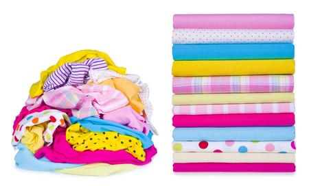 Photo pour Laundry pile and clothes after ironing - image libre de droit