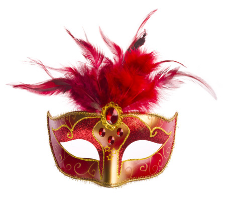 Foto de Red carnival mask with feathers isolated on white - Imagen libre de derechos