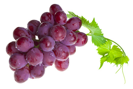 Photo for Red grape with foliage isolated on white - Royalty Free Image
