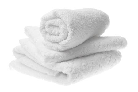 Foto de White cotton towels stack isolated - Imagen libre de derechos