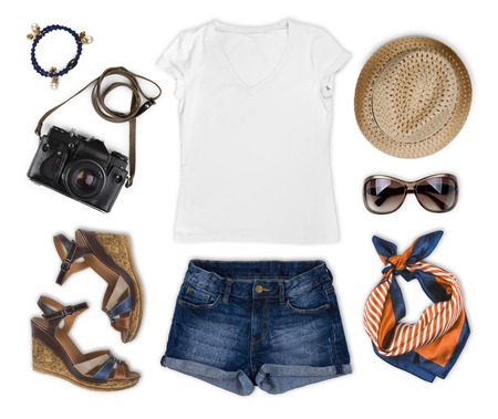 Photo pour Set of feminine tourist summer clothing isolated on white - image libre de droit