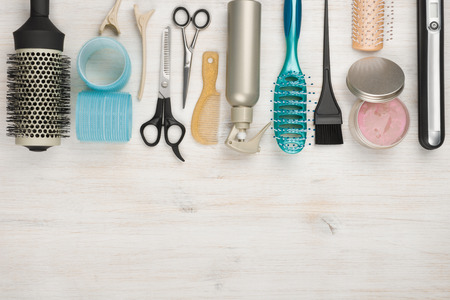 Photo pour Professional hairdressing tools and accessories with copyspace at the bottom - image libre de droit