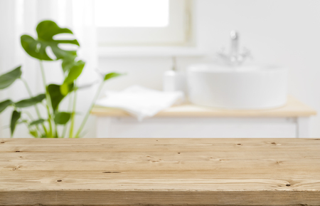 Foto de Empty tabletop for product display with blurred bathroom interior background - Imagen libre de derechos