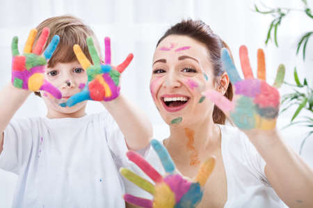 Photo for Happy family with colorful hands - Royalty Free Image