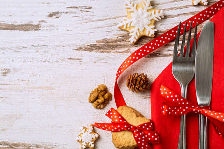 Photo for Cutlery decoration with bow festive for christmas holiday - Royalty Free Image