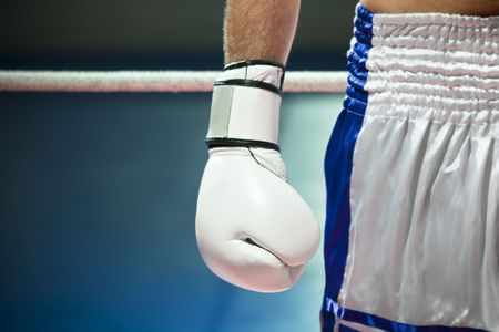 cropped view of man with boxing gloves. Copy space