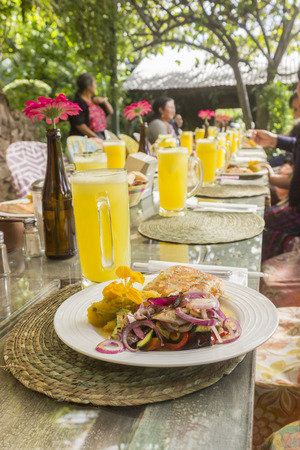 Photo for Summer table with food and drinks - Royalty Free Image