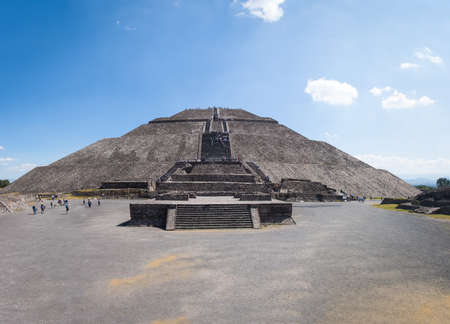 Photo for Frontal view of The Sun Pyramid at Teotihuacan Ruins - Mexico City, Mexico - Royalty Free Image
