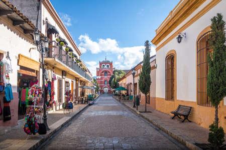 Photo for Pedestrian street and Del Carmen Arch Tower (Arco Torre del Carmen) - San Cristobal de las Casas, Chiapas, Mexico - Royalty Free Image