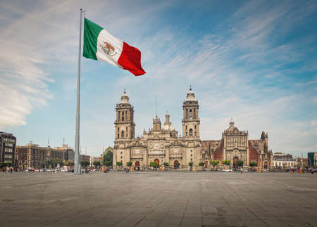 Photo pour Zocalo Square and Mexico City Cathedral - Mexico City, Mexico - image libre de droit