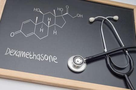 Photo pour Dexamethasone, palliative care against tuberculous meningitis, schematic chemical, conceptual image - image libre de droit