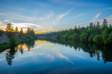 Photo for nine mile reservoir on spokane river at sunset - Royalty Free Image