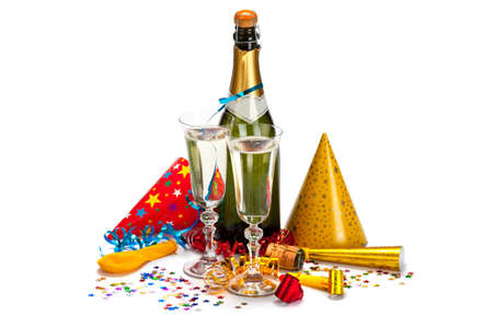 Photo for Party - champagne, caps, confetti and streamers - Royalty Free Image