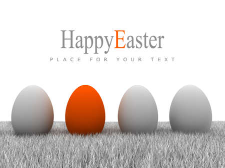 Easter eggs on gray grass and white background