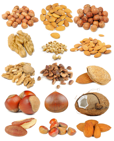 Photo for Nut set including hazelnuts, almonds, walnuts, peanuts, pine nuts, coconut, brazil nuts and chestnuts isolated on white background - Royalty Free Image