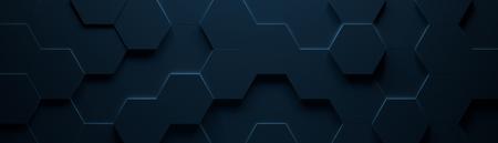 Photo for Dark Blue Hexagonal Tile Background (3d Illustration) - Royalty Free Image