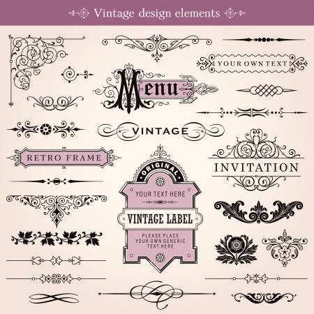 Ilustración de Vintage Calligraphic Design Elements And Page Decoration  - Imagen libre de derechos