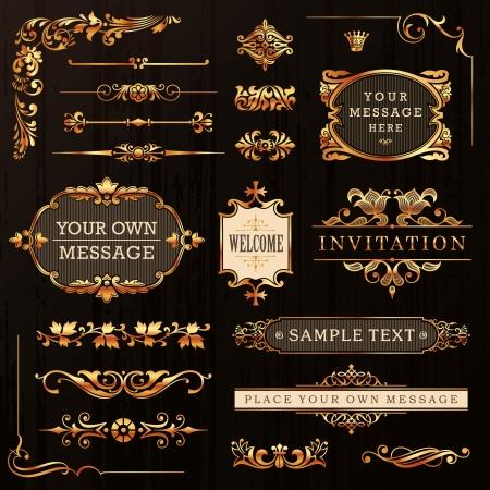 Ilustración de Vintage Golden Calligraphic Design Elements And Page Decoration Vector - Imagen libre de derechos