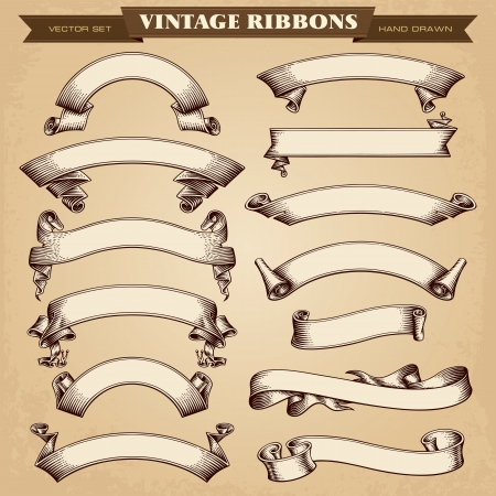 Illustration pour Vintage Ribbon Banners Vector Collection - image libre de droit