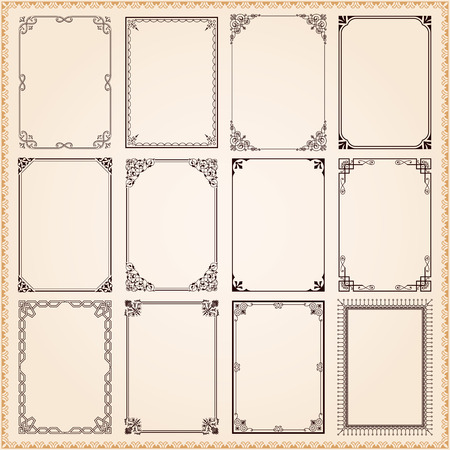 Illustration pour Decorative vintage frames and borders set vector - image libre de droit