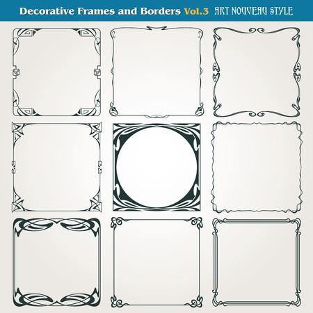 Ilustración de Decorative vintage borders and frames Art Nouveau style  - Imagen libre de derechos