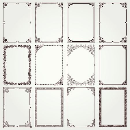 Illustration pour Decorative vintage frames and borders set #4 vector - image libre de droit