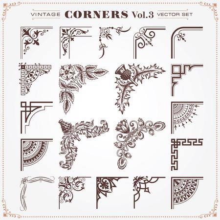 Illustration pour Vintage Design Elements Corners 3 Vector - image libre de droit