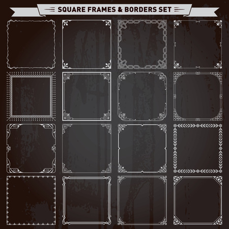 Illustration pour Decorative square frames and borders set vector - image libre de droit