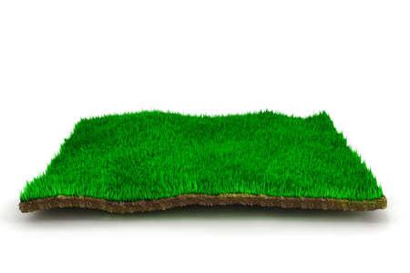 Photo pour 3d grass lawn, on white background - image libre de droit