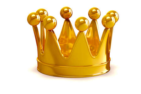 3d golden crown on white background mural