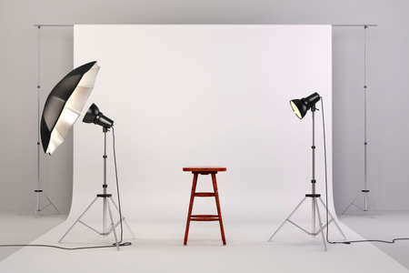 Photo for 3d studio setup with lights, a wooden chair and white background - Royalty Free Image