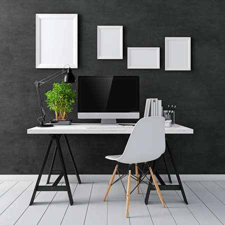 Foto de 3d modern computer workplace - Imagen libre de derechos