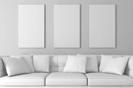 Foto de 3d interior setup with couch and blank poster - Imagen libre de derechos