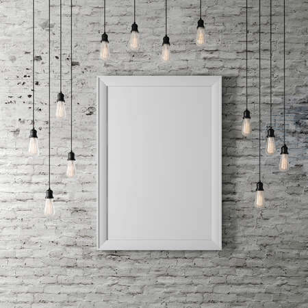 Photo pour 3d blank poster and light bulbs - image libre de droit