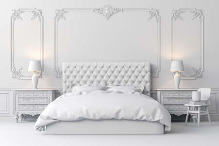 Foto de 3d render of beautiful  bedroom - Imagen libre de derechos