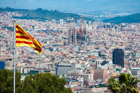 Foto de View of Barcelona as seen from the Montjuic Castle, Spain - Imagen libre de derechos