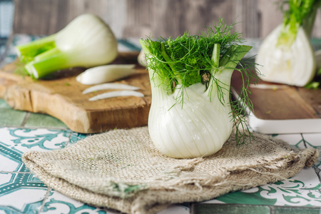 Photo for Genuine and fresh raw fennel on a rustic background - Royalty Free Image