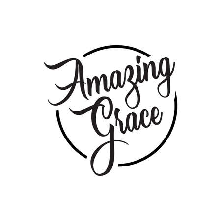 Illustrazione per amazing grace lettering. Quotes. vector vintage illustration. isolated on white background - Immagini Royalty Free