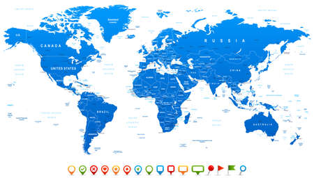 Illustration pour Blue World Map and navigation icons - illustration. Highly detailed world map: countries, cities, water objects. - image libre de droit