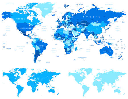 Ilustración de Blue World Map - borders, countries and cities - illustration.World maps with different specification.There are highly detailed countries, cities, water objects, country contours, world contours. - Imagen libre de derechos