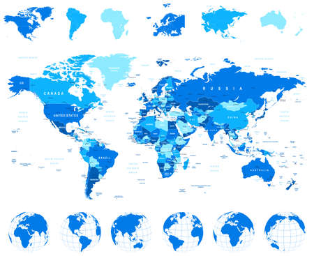 Illustration pour World Map, Globes, Continents - illustration. Highly detailed vector illustration of world map, globes and continents. - image libre de droit