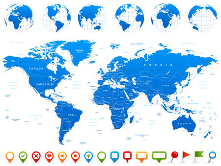 Illustration pour World Map, Globes, Continents, Navigation Icons - illustration. Highly detailed vector illustration of world map, globes and continents. - image libre de droit