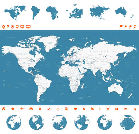 Illustration pour Highly detailed vector illustration of world map, globes and continents. - image libre de droit