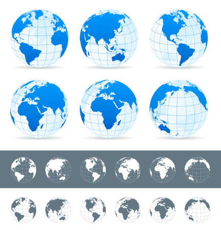 Illustration pour Globes set - illustration. Vector set of different globe views. Made in blue, gray and white variants. - image libre de droit
