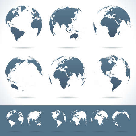 Globes set - illustration. Vector set of different globe views. No contours.
